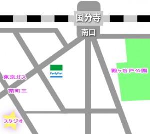 中央線の国分寺駅にあるレンタルスタジオの地図