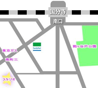 中央線の国分寺駅にあるレンタルスタジオの地図・所在地