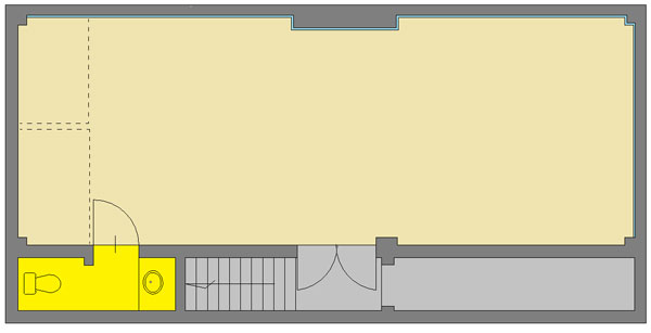 広い スペース で レッスン できる 国分寺 レンタルスタジオ の 図面 です。